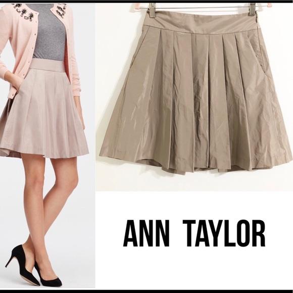 Ann Taylor Dresses & Skirts - Ann Taylor Pleated Taffeta Skirt Lined
